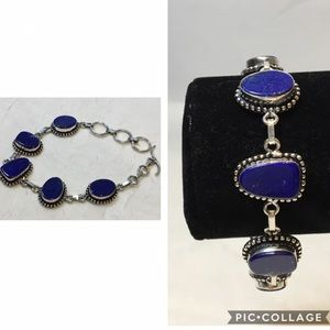 Lapis Lazuli Silver Plated Chain Link Bracelet